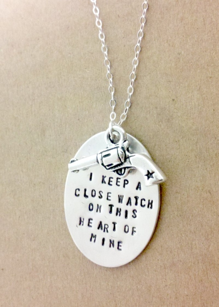 Johnny Cash Necklace Gun Sheriff Western Sterling Silver Chain