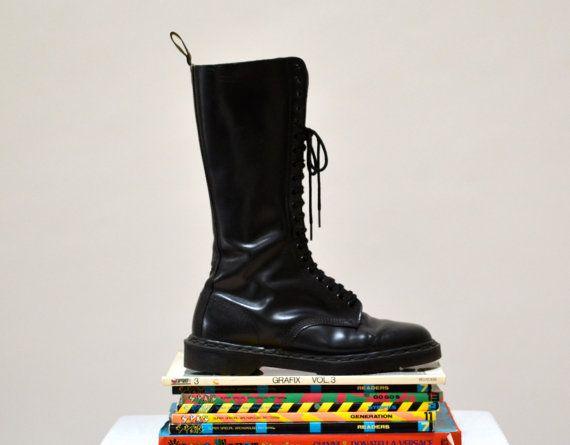 Amazing 90s Black Dr. Martens Black Boots Size 10 by Hookedonhoney