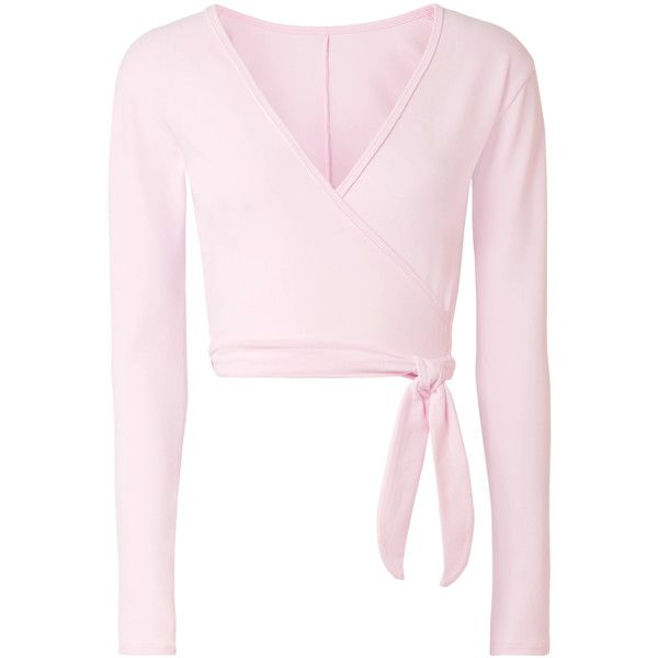 38519c52781 Ballet Beautiful Stretch wrap top ($75) ❤ liked on Polyvore featuring tops,  dance, pink, baby pink, wrap tie top, crop tops, wrap top, stretchy tops  and ...