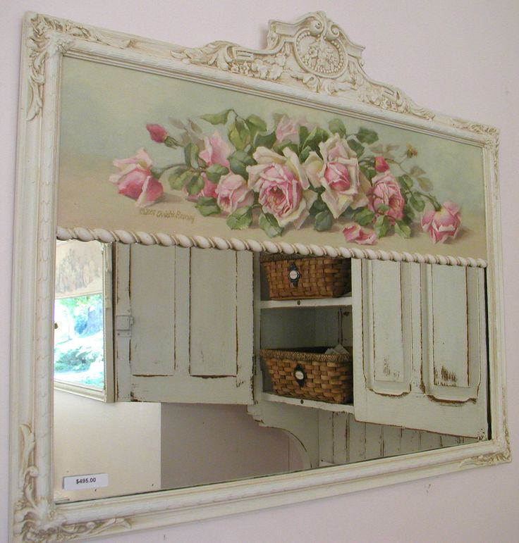 Mirror with pink painted roses soft aqua backround