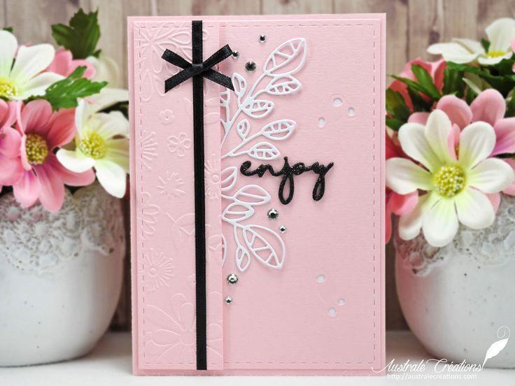 Enjoy : Carte uni en rose, noir et blanc avec feuillages et fleurs / Card with flowers and leaves