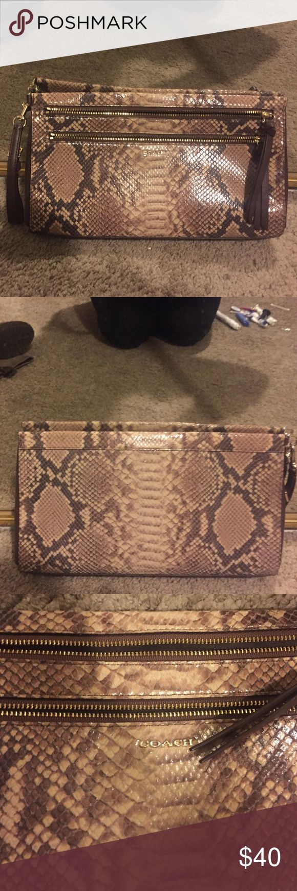 Coach clutch Amazing snakeskin Coach Clutch, barely used, no stains, or flaws in material inside or out Coach Bags Clutches & Wristlets