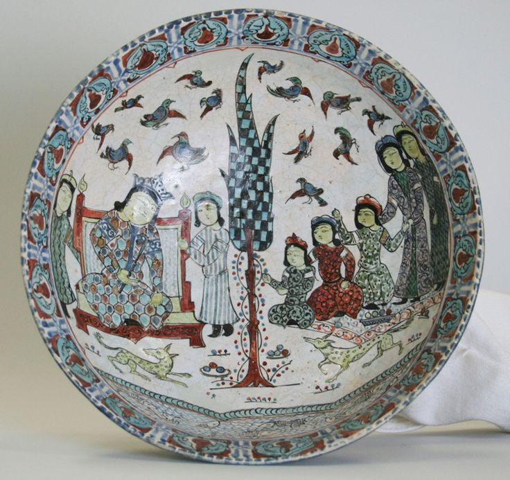 Bowl (Enthronement Scene). Iran. Seljuq dynasty, late 12th-early 13th century. Ceramic, mina'i or haft rangi (seven-color) ware; frit body, opaque glaze with in-glaze painting, overglaze painting, and leaf gilding, 3 3/16 x 8 1/4 in. (8.1 x 21 cm). Brooklyn Museum,