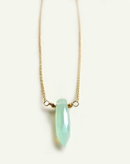 faceted aqua chalcedony dagger gold necklace by flow designs