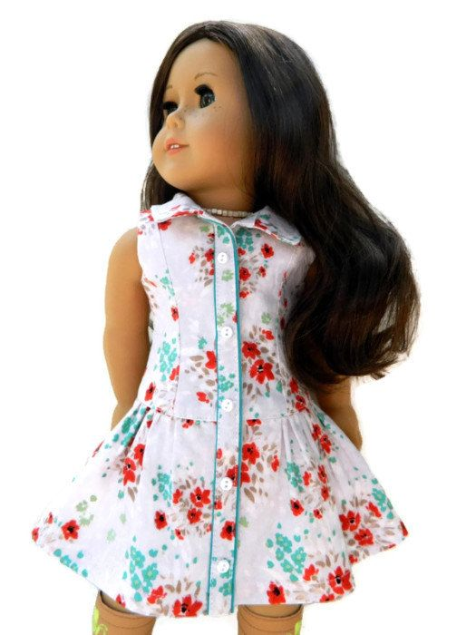 American Girl Doll Clothes - Pale Grey, Red and Turquoise Floral Cotton Print Yacht Club Dress with Necklace and Bonus Purse on Etsy, $38.00