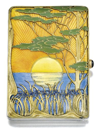 Oh the nouveau!  Such a great design: A Fabergé parcel-gilt silver and enamel cigarette case, Moscow, 1899-1908. In Japanese taste, the lid enamelled with a sun setting on water and overlaid with irises and a Koyamaki tree, struck K. Fabergé beneath the Imperial Warrant.