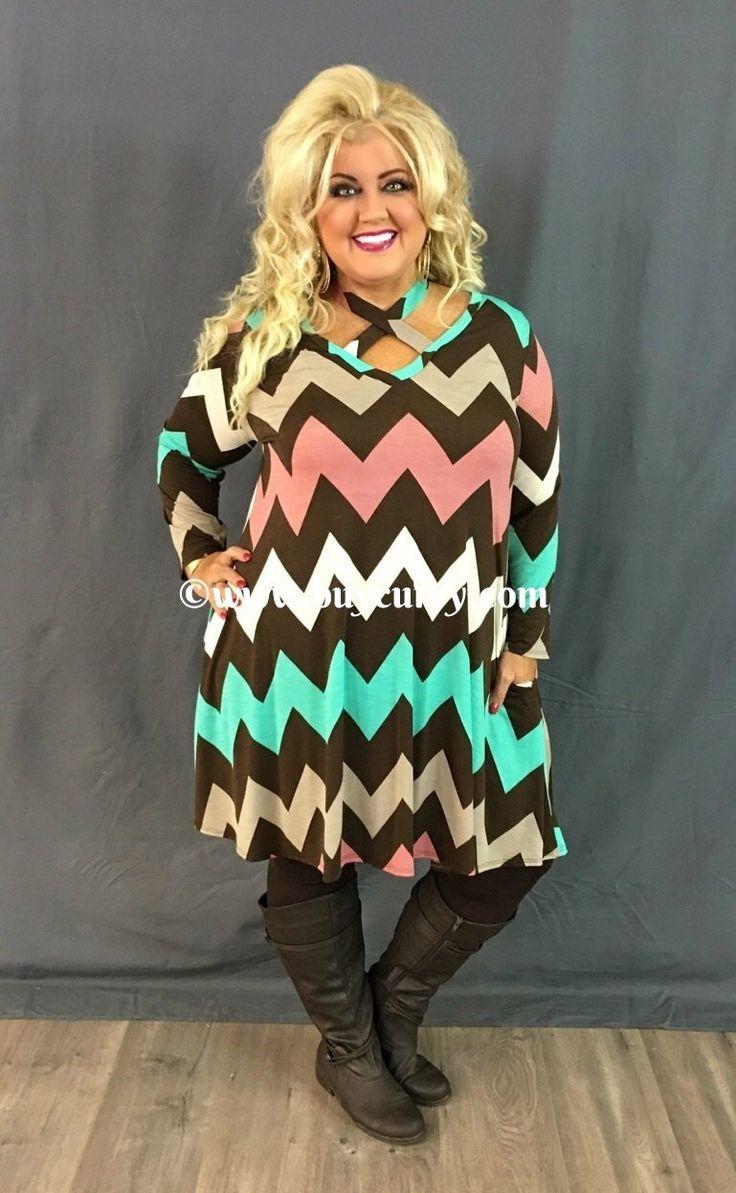 SW #1-C Brown, Mocha & Mint Chevron Dress with Pockets