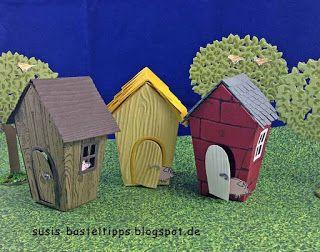 """Susis Basteltipps: Märchenland mit Stampin' Up! Framelits """"Ein Haus für alle Fälle"""" (Home Sweet Home): Die drei kleinen Schweinchen"""