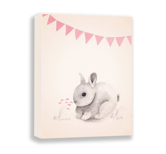 Watercolor Rabbit Canvas  Baby Girl Nursery  by TheDaisyFields