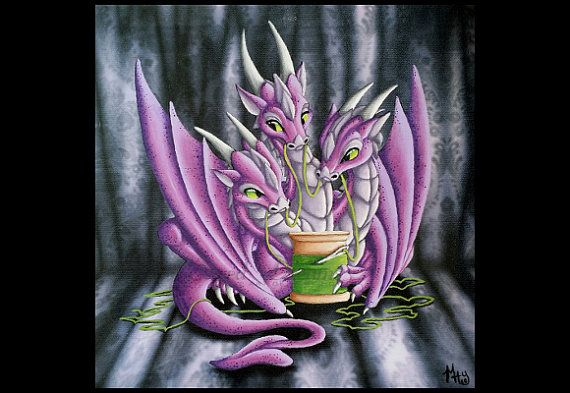 Sewing 3-headed Dragon, Dragon Print, dragon art, original Art, Art Print, fantasy art,fantasy print,fantasy poster, poster,mary hoy