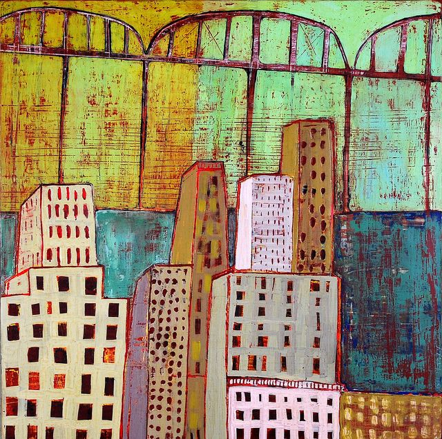 "woven city (c) Barbara Gilhooly 16 x 16"" acrylic, ink, carving on birch www.barbaragilhooly.com gilhooly studio, via Flickr"