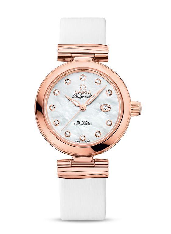 Omega женские часы 425.62.34.20.55.004 De Ville Ladies Ladymatic Co-Axial 34 mm - белые, золотые - швейцарские женские наручные часы