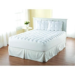 Item #12410739 from Overstock.com. I got it for $52, for a Cal King size!  Don't even waste your time trying to find a mattress pad in stores for that size.  It's impossible, and if you do find one you'll pay over twice as much for it.  Each square has over 7 ounces of fluff in them.  I'll post a review once we test it out!