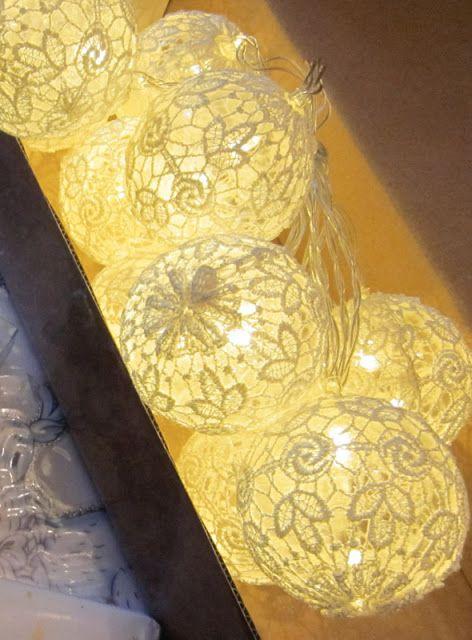 White lace ball christmas lights I got from Secret Santa exchange Romppala - kotoilua ja puutarhanhoitoa
