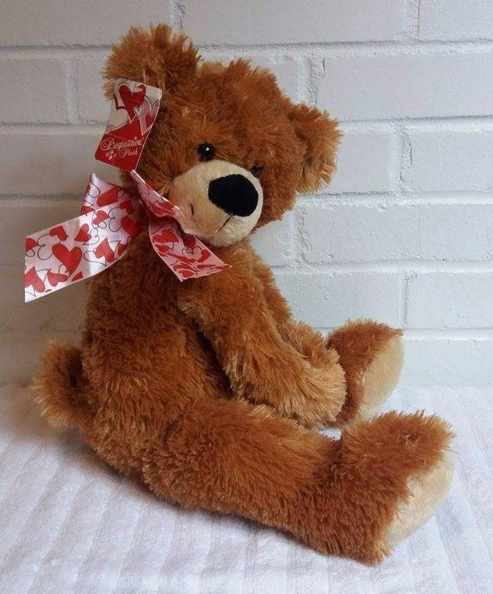 Brown Teddy Bear Progressive Plush Stuffed Animal Plush NWT Hearts         (A15) #ProgressivePlush