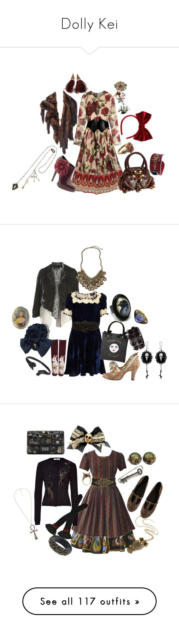 """""""Dolly Kei"""" by roseunspindle ❤ liked on Polyvore featuring dollykei, Dolce&Gabbana, Alaïa, Kelsi Dagger Brooklyn, Topshop, Antiquities Couture, Louis Vuitton, Cathy Waterman, Miss Selfridge and Tarina Tarantino"""