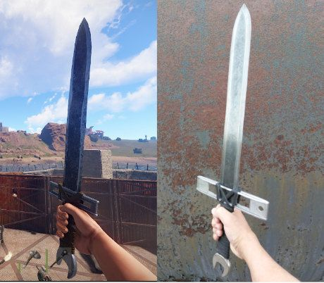 Rust Salvaged Sword is a in-game crafted sword. It is made from a chainsaw bar, wrench, torpedo level and leather.  It is 25.25 overall long. Blade is 2.32 wide and 16.25 long, .187 thick.  Warning: This is not a prop! This is a well made carefully crafted, fully functional, sharp, sword.
