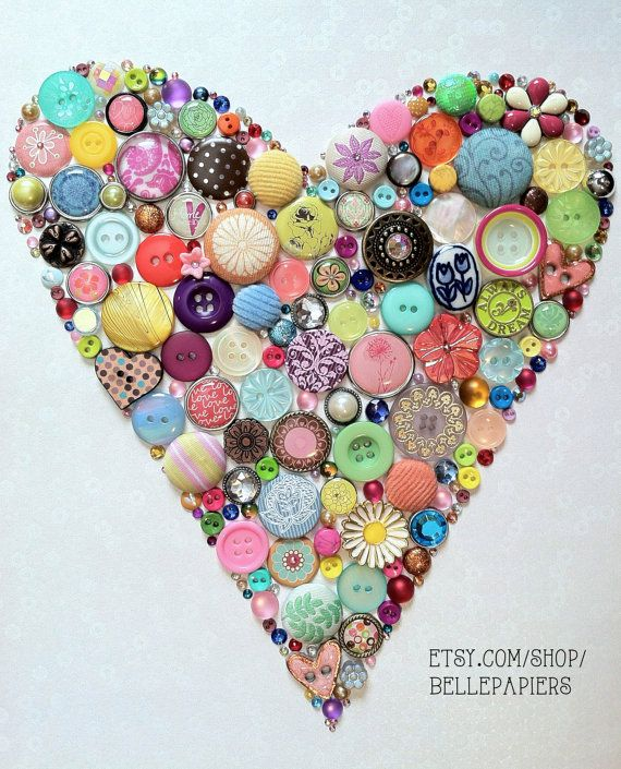 8x10 Sparkly Heart Art Button & Swarovski by BellePapiers on Etsy