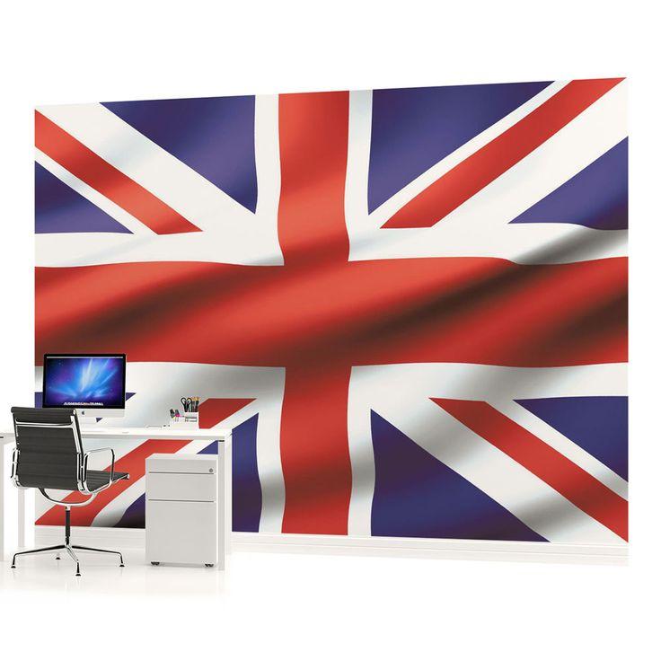 Waving Union Jack British Flag Photo Wallpaper Wall Mural (CN 486VE)
