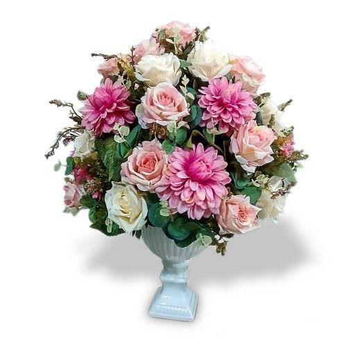 arranjo de flores artificiais flores mistas cachepot pedestal Arranjo de flores artificiais  -> Decoração Arranjos De Flores Artificiais