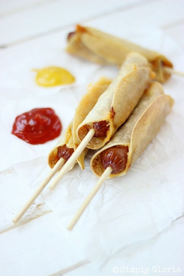 Baked Corn Tortillas Cheese Dogs with SimplyGloria.com #corndogs