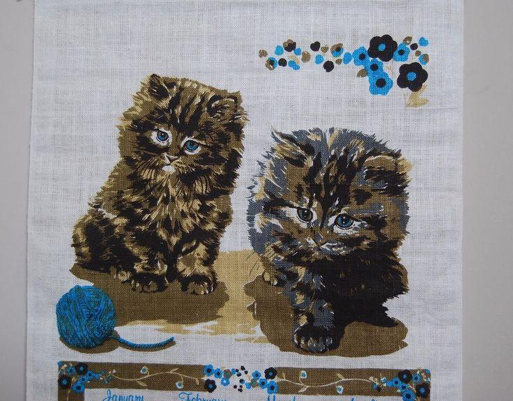 Cat Calendar Vintage 1970s 1979  Linen Wall Hanging Never Displayed NOS 16 x 27  #Cats #Kittens #1970s #VintageKitchen #Kitsch #Calendars