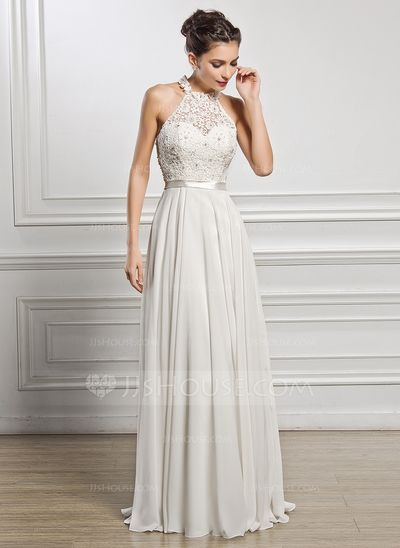 A-Line/Princess Scoop Neck Floor-Length Chiffon Charmeuse Lace Wedding Dress With Beading Sequins (002056982)