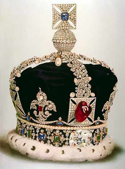 the Black Prince's Ruby (front, center), is actually a large red spinel. Its history is documented back to 1366 AD. Today it is mounted on the front of Britain's Imperial State Crown. Illustration from Younghusband & Davenport (1919).