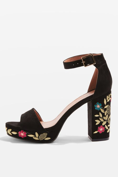 Embroidered Block Heel Sandals from Topshop R720,00