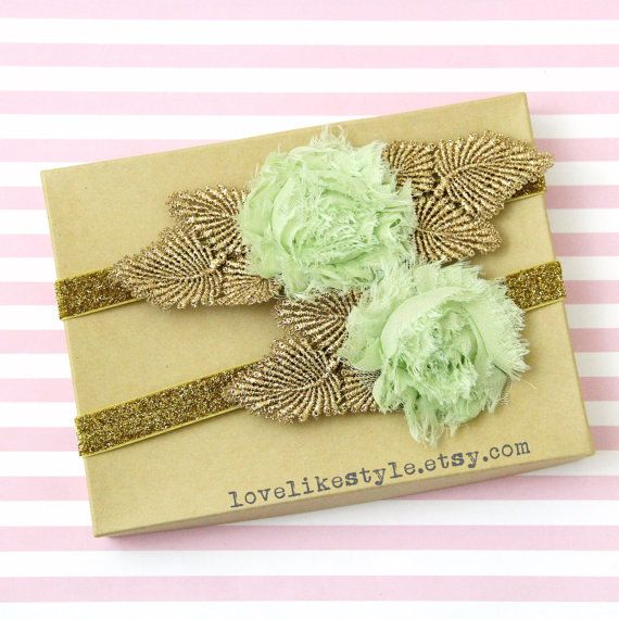 Lime Green Shabby Chic Flower with Gold Leaves by lovelikestyle