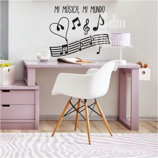 vinilo decorativo pared infantil juvenil musical pentagrama clave de sol