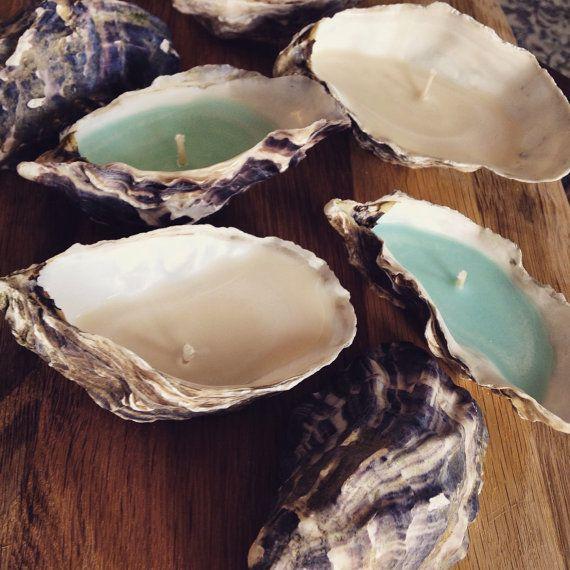 Cornish Oyster Shell Candle 1/2 dozen by WoodpeckerandWeasel                                                                                                                                                                                 More