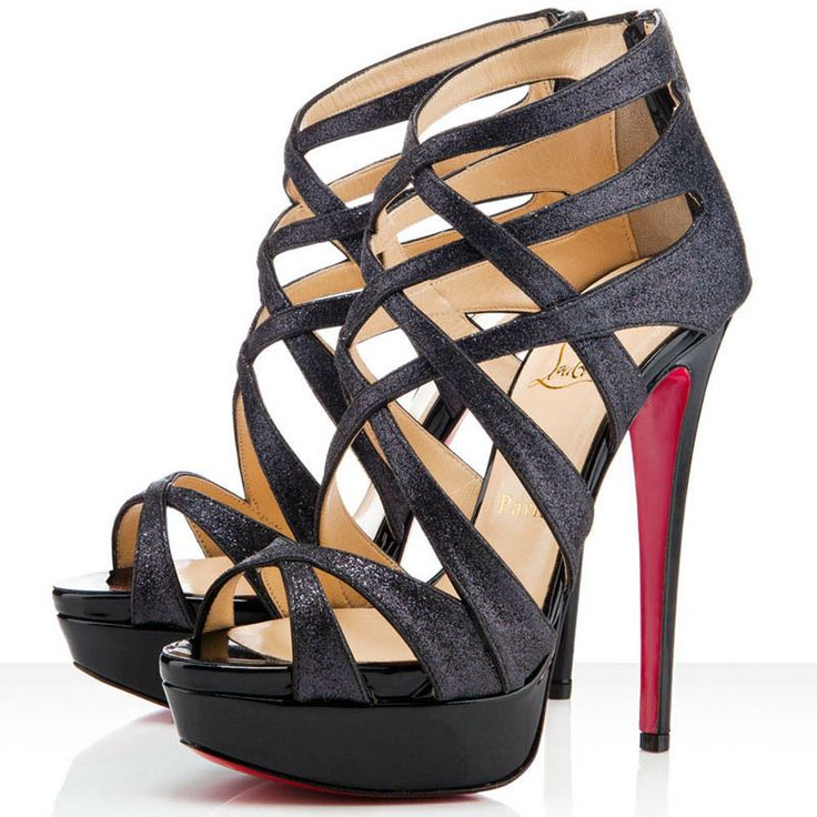 fake louboutins for sale - Christian Louboutin Balota Glitter Leather Strappy Sandals Black ...