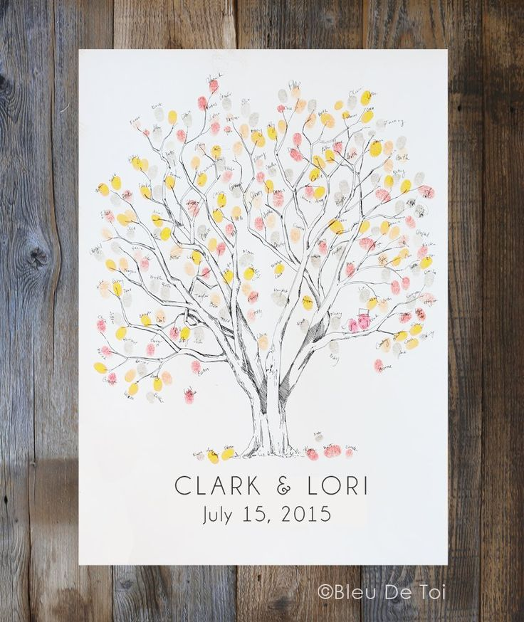 Cottonwood, THE Original Fingerprint Tree, Wedding Guest Book Alternative, Original Design, thumbprint tree 3 ink pads and 1 pen. Leave an impression of a memorable day with a unique, and personal, way to record your guests! Interactive, creative and a beautiful keepsake to cherish for years to come! Unlike a boring guest book that sits on a table, collecting dust, this guestbook alternative is a work of art to hang on your wall and appreciate daily. We personalize this beautifully drawn...