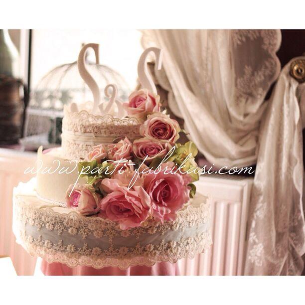 Vintage styrofoam cake Fabric coating flowers decor table center piece