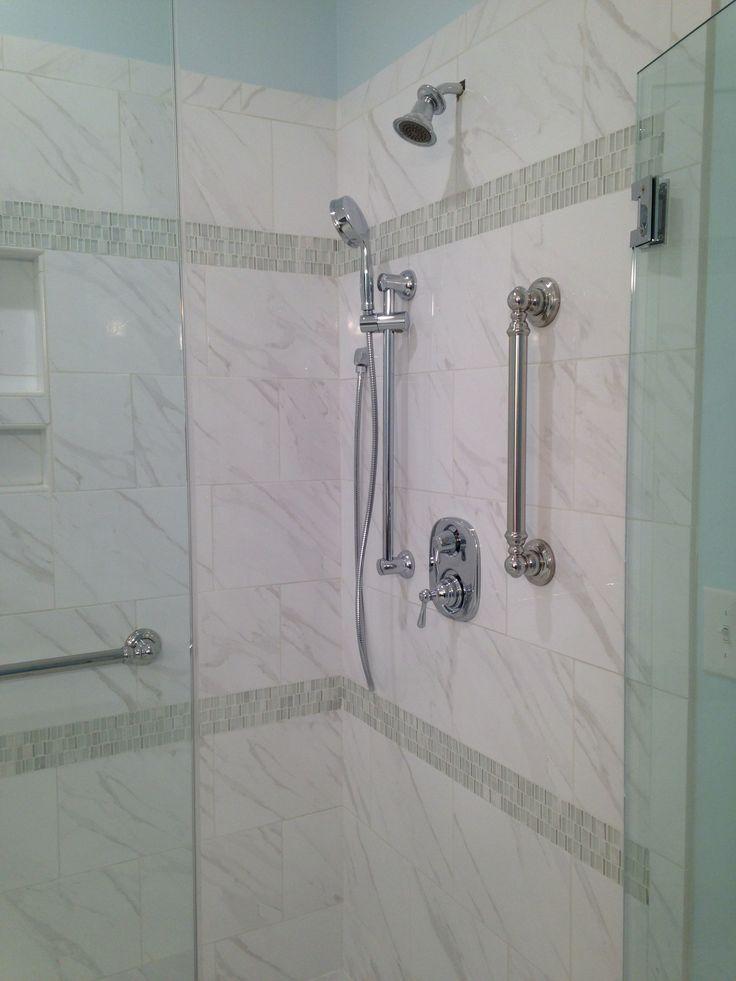 Daltile Florentine Fl06 Carrara 10x14 With Glass Accent Daltile Clio Cl13 Luna Mosaic Daltile