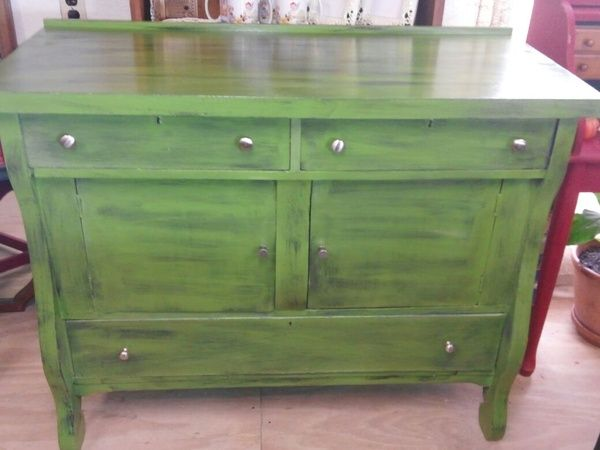 Beautiful vintage buffet painted in Pure Earth Paint's Olivine, and  sealed.  48 inches. Green Painted FurniturePaint ... - 391 Best Blue And Green Painted Furniture Images On Pinterest