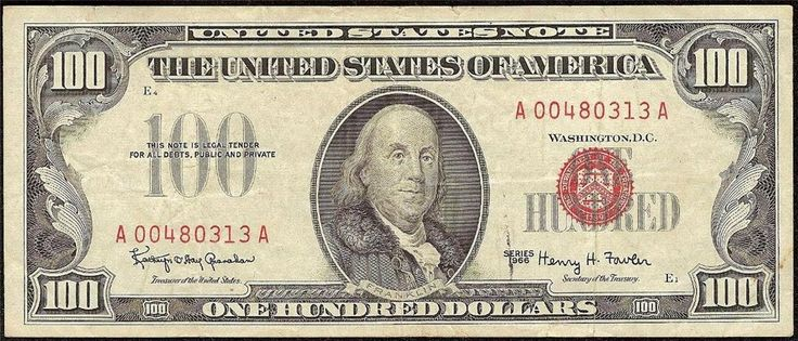 Just Listed! 1966 $100 DOLLAR BILL UNITED STATES LEGAL TENDER RED SEAL NOTE CURRENCY Fr 1550 https://www.paper-money-collector.com/product/1966-100-dollar-bill-united-states-legal-tender-red-seal-note-currency-fr-1550/ #Paper #Money #UnitedStates