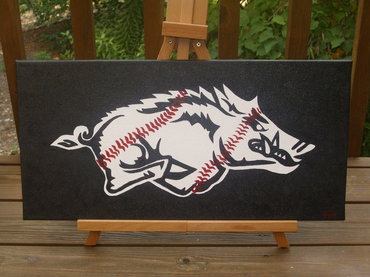 Arkansas Razorback Baseball Hog 12 x 24 by Hogchet on Etsy