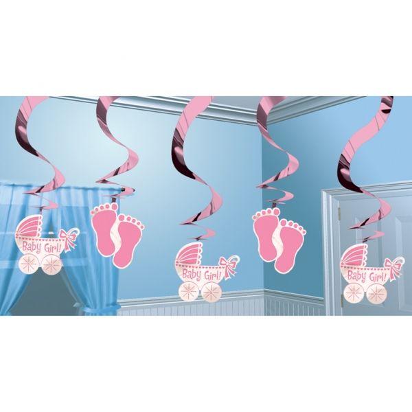Dekoracja wisząca Baby Shower w kolorze różowym. Doskonała dekoracja na przyjęcie z okazji narodzin dziecka lub roczek dziewczynki.