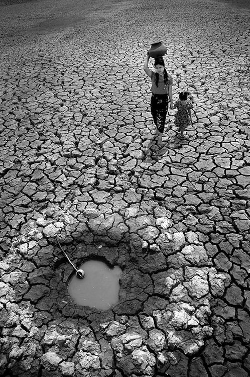 The Long Journey for Water on a Hot Summer's Day by Kyaw Zaw Lay: near a Mandalay town    Photo by: Kyaw Zaw Lay (Yangon, Myanmar); Near a Mandalay town