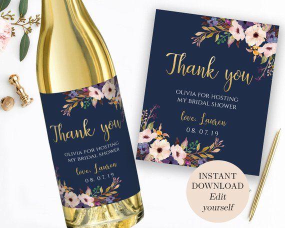 Printable Wedding Wine Labels Thank You Wine Label Thank You Etsy In 2021 Wedding Wine Labels Wine Bottle Labels Wedding Wedding Wine Bottles