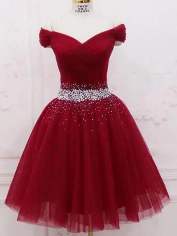 Cute Off The Shoulder Burgundy Homecoming Dresses With