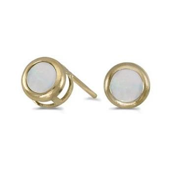 Bezel-Set Round Opal Stud Earrings 14k Yellow Gold (0.60ctw)-Allurez.com