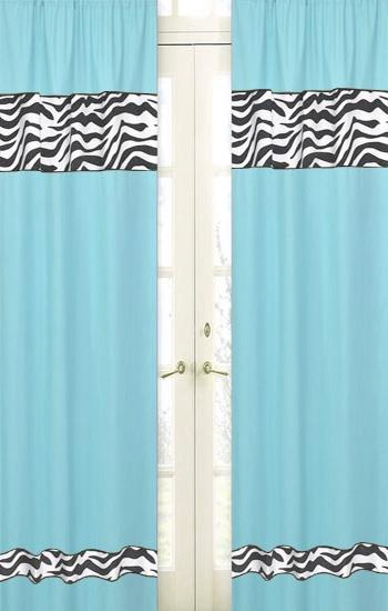 Zebra Turquoise Window Panel - Sweet JoJo Designs - Blue Zebra Print  Curtains - http: