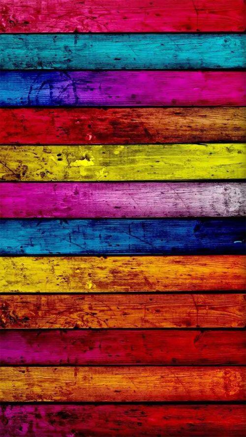 Bold Color-block Wood Wallpaper