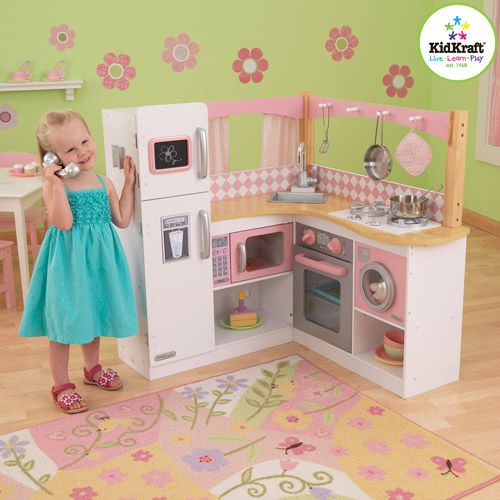 Children's wooden kitchen play set. Ideas for building my own.  -cld