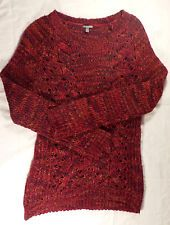 Charlotte Russe Womens Red Orange Knit Sweater S Small