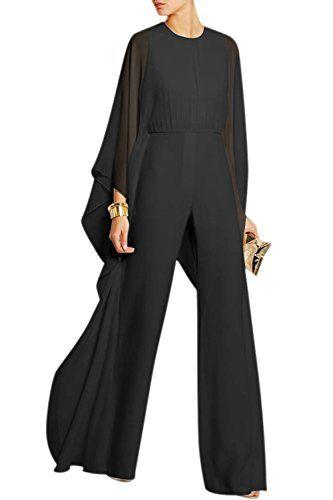 YACUN Tailleur Pantalon Femme Veste Combinaison Chic à manches longues en  mousseline de soie pour Noir XL e885fb5a774