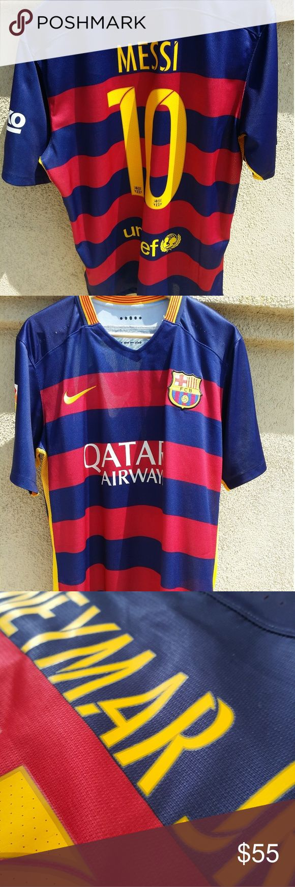 BARCELONA Jersey with Name set MESSI or NO NAMESET Please select the size you prefer at check out. Nike Shirts Tees - Short Sleeve
